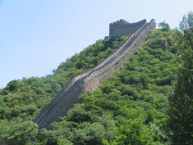 General views of a rebuilt section of the Great Wall of China