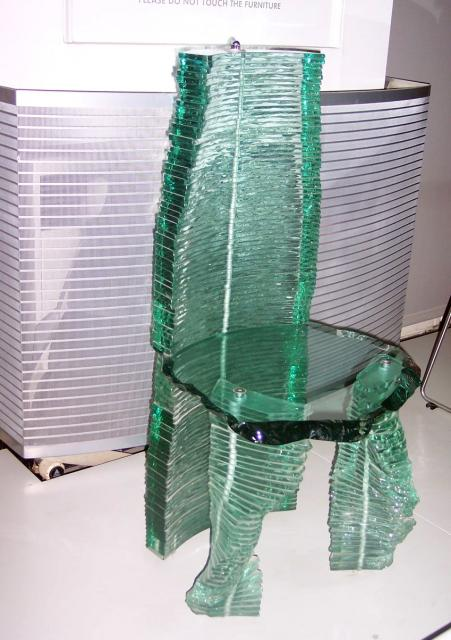 Glass has many uses, here is one of the more unusual. The chair is by Danny Lane and is both a piece of furniture ans a freestanding sculpture, with the function secondary to the sculpture. It was made in 1988 of sheet glass and steel. The aim was to challenge notions of the chair as primarily utili...