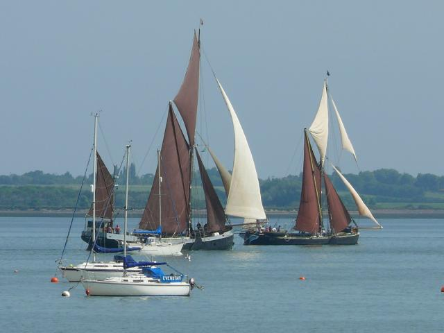 Thames Barges on the River Blackwater, Essex, during the annual Blackwater Barge Match, June 9th 2007.