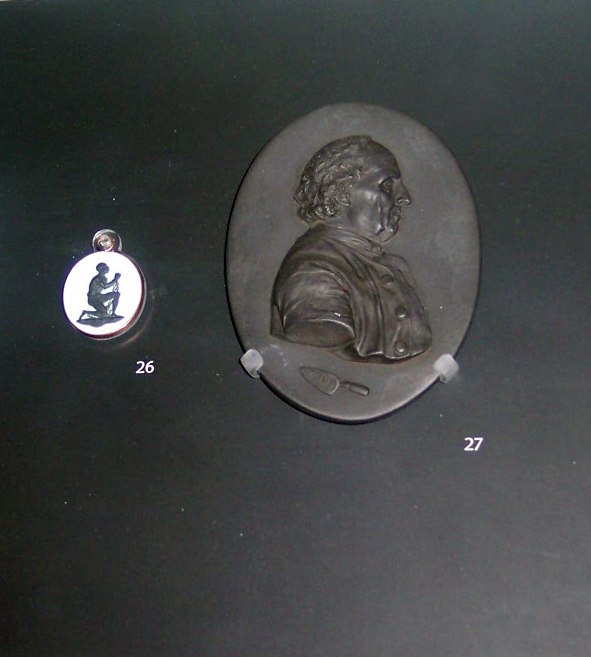 This became the emblem of the campaign and was worn by ladies on both sides of the Atlantic to show support for the cause of Abolition. Picture taken at the Victoria and Albert Museum December 2007.