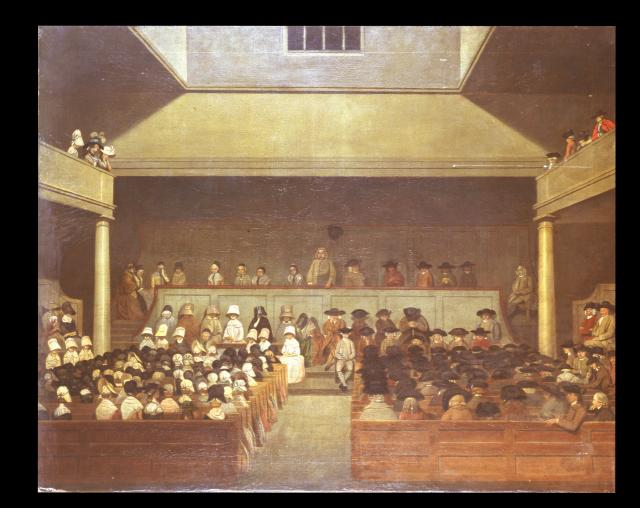 Gracechurch Street Meeting, London ca.1779. The picture is taken from an oil on board painting, which shows the interior view of a meeting for worship with Isaac Sharples ministering from the gallery. The meeting room  has women on left and men on the right. The abolition campaign was started by the...