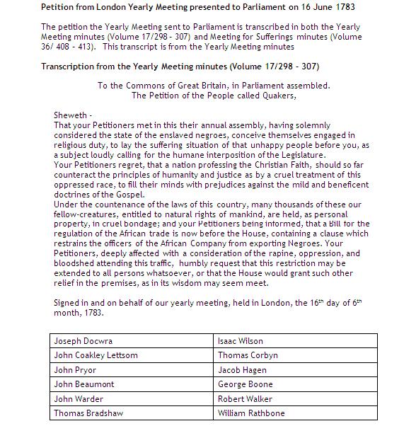 1783 Quaker Petition to Parliament Transcription NEN