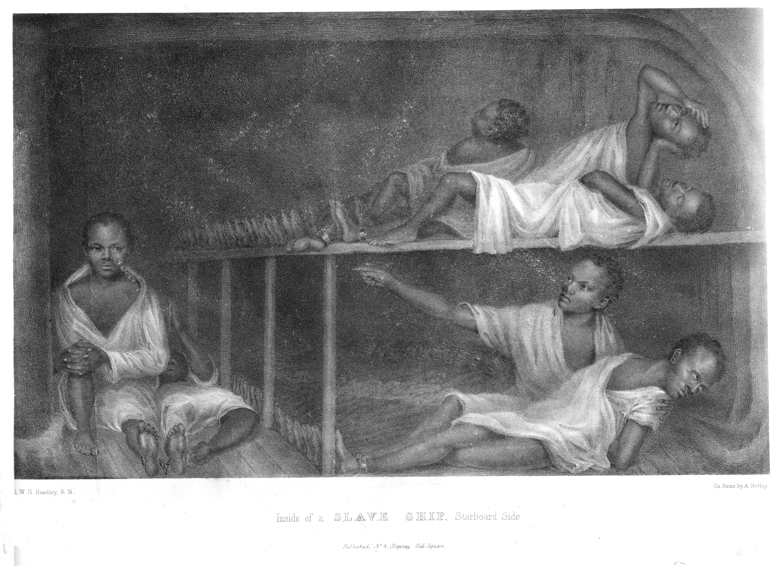 "There is a 19th century lithograph engraved by A. Hoffay from an original by I.W.H. Handley entitled ""Inside of a slave ship, starboard side.""  Little is known about this lithograph. It provides a very unrealistic representation, typical of much of the art of the era.