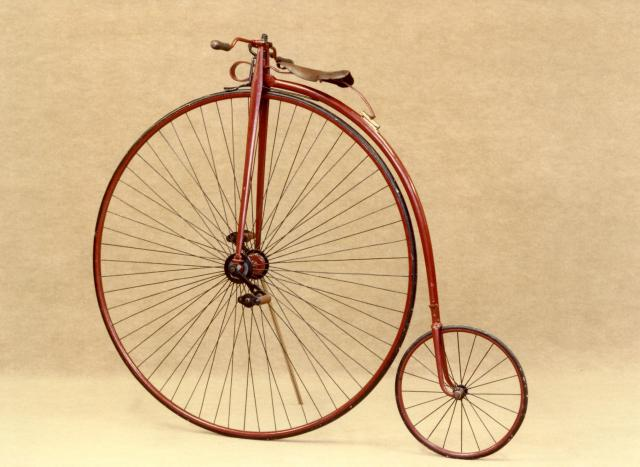 Penny Farthing Bicycle.  This sort of bicycle was known as an 'ordinary' until the invention of the safety bicycle in the 1880s.