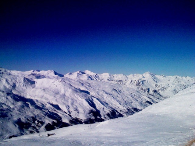 View of French alps from the top of the highest ski lifts from Val Thorens.