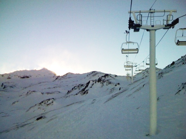 Ski lift. Val Thorens in the French Alps.