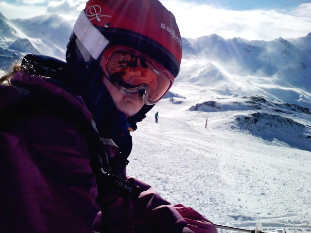 Piste skiing, Val Thorens, French Alps.