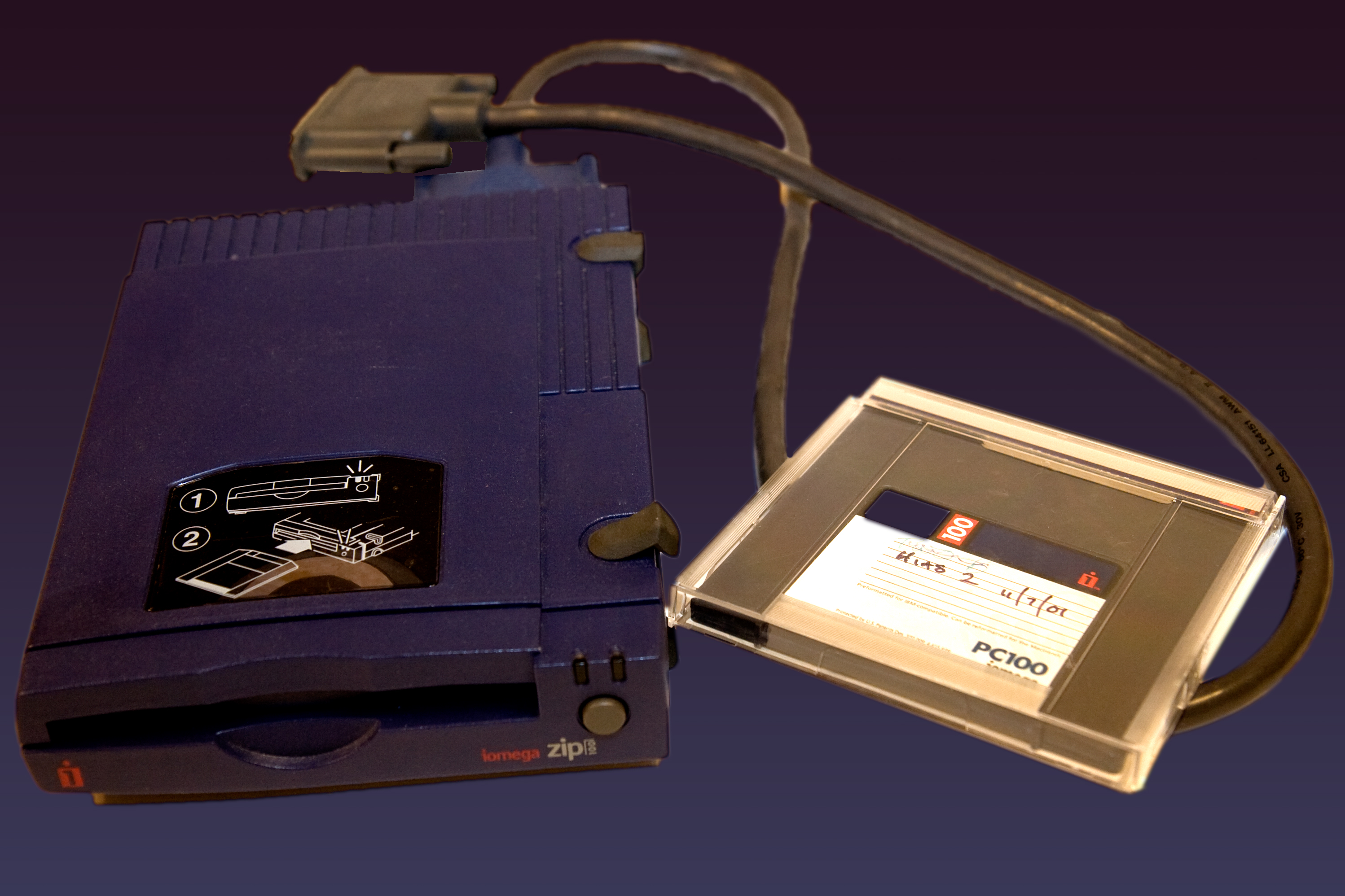 The Zip drive was an external storage system that used discs similar in size to a 3.5 floppy but thicker and able to hold much more data. 100MB (3.5 discs held 1.44MB) discs were used and later 250 and 750MB discs came out.