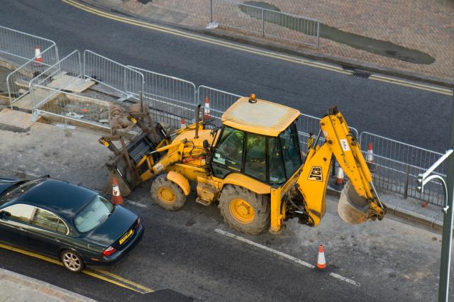 JCB Equipment at road works.