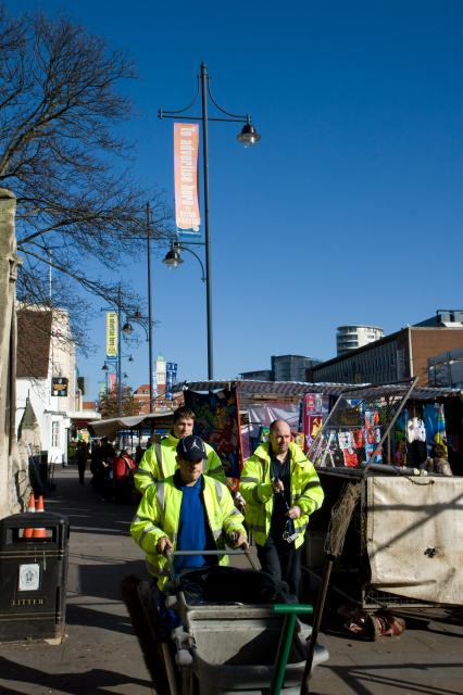 Romford Market outside St Edwards C of E Church.