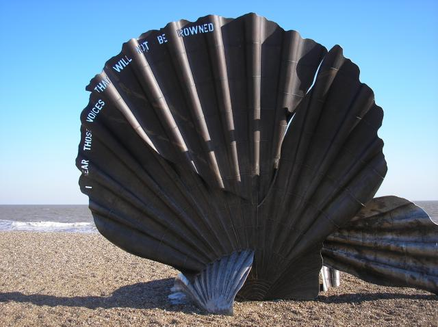 On Aldeburgh's beach, a short distance north of the town centre, stands a sculpture, The Scallop, dedicated to Benjamin Britten, who used to walk along the beach in the afternoons. Created from stainless steel by Suffolk-based artist Maggi Hambling, it stands four metres high, and was unveiled in No...