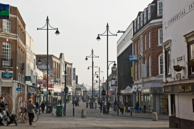 Looking up South Street, Romford from the end of North Street. The market is around the corner to the left.