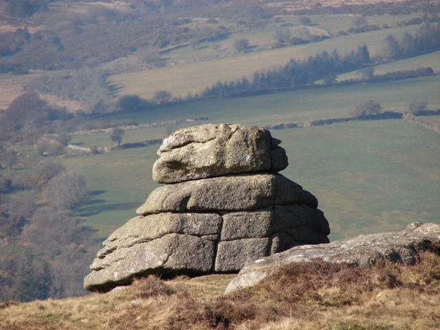 Part of Yar Tor on Dartmoor. Granite rock.