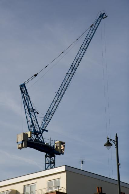 A tower crane at the new construction in the centre of Upminster.