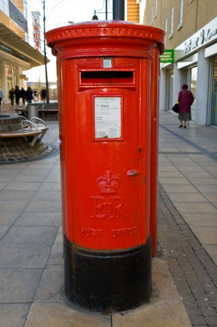 1952 designed EIIR Post Box; This is the familiar and well known British post box still seen today. Post box in Romford town centre.