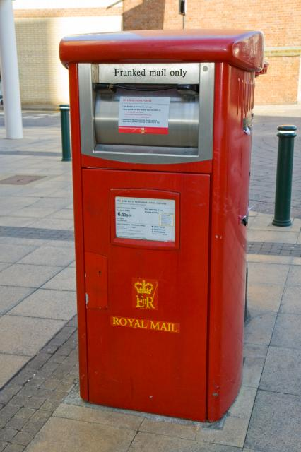 A recently designed box for Franked Mail only. Post boxe in Romford town centre.