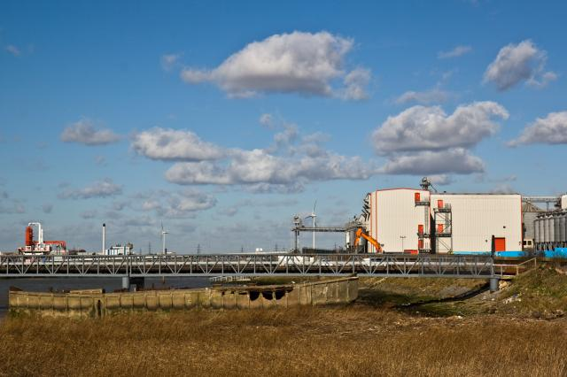 """Tilda"" Rice factory at Cold Harbour Lane, Rainham with jetty out to riverside for loading and unloading goods."