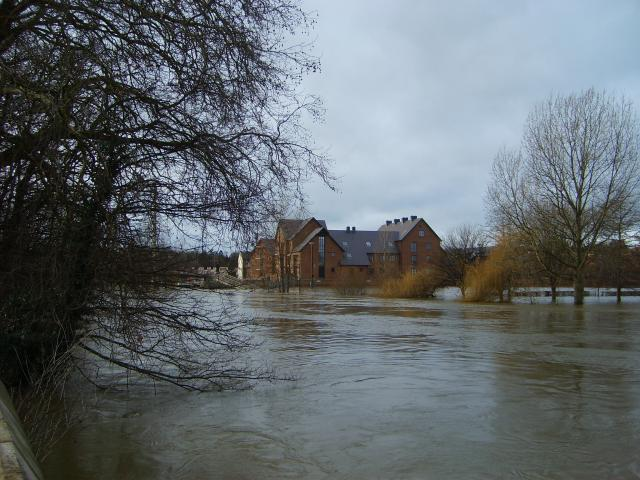 The River Severn in flood near the Welsh Bridge in Shrewsbury, Shropshire