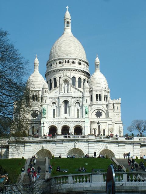 The basilica of Sacre-Coeur is a roman Catholic church and a very well-known landmark in the Montmartre district of Paris, the highest point in the city.