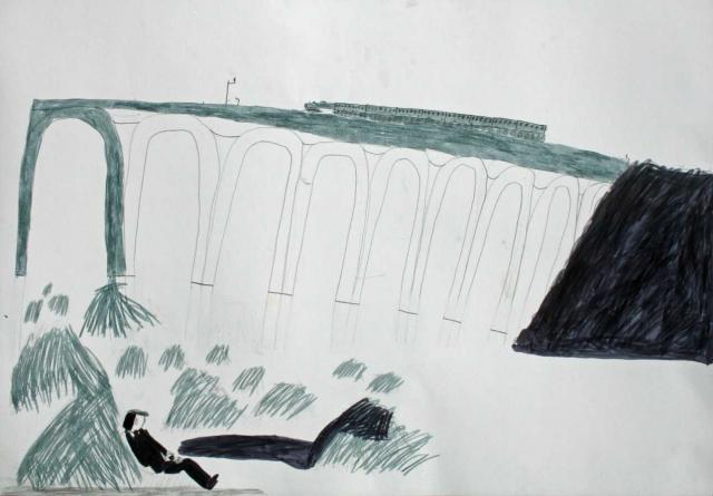 Artwork by St John's Digswell children, depicting the viaduct.