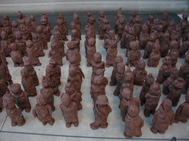 This work was seen at the British Museum following an exhibition of the Terracotta Army and Horses.  Children who had visited the display were able to attempt their own version of the figures they had seen.