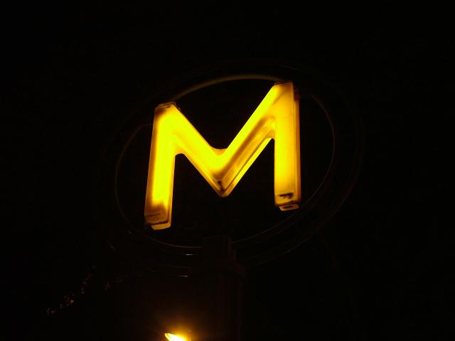 Metro sign in Paris on Boulevard Montparnasse