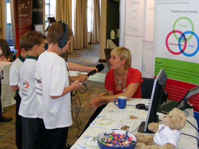 Part of the E2BN conference includes a medium sized exhibition of around 50 -55 stands. Picture taken 24th June 2008.