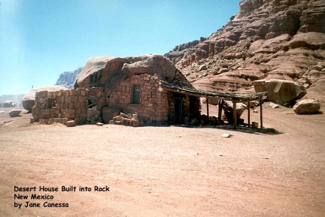 Desert house built into rock, New Mexico