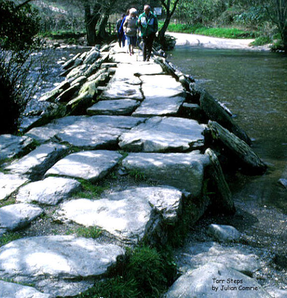 The Tarr Steps are a prehistoric clapper bridge across the River Barle in the Exmoor National Park, Somerset, England. They are located about 2.5 miles (4 km) south east of Withypool and 4 miles (6 km) north west of Dulverton.