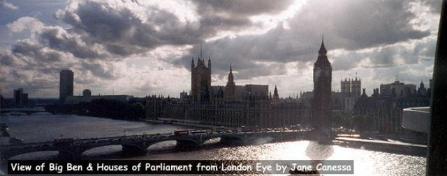 View of Big Ben and the Houses of Parliament from the London Eye