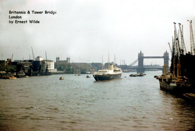 The Royal yacht 'Britannia' near Tower Bridge, London (photographed in the 1960s)