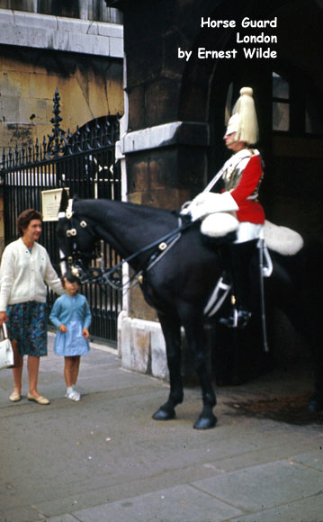 Horse Guard, London (photographed in the 1960s).  The Horse Guards Barracks are located in Hyde Park.