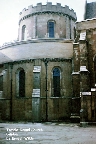 The Temple Church, London (photographed in the 1960s).  The church is located between Fleet Street and the River Thames.  It was built in the late 12th century as the English headquarters of the Knights Templar.