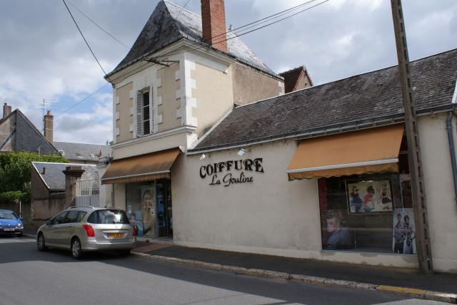 Typical buildings and shops in a small French town
