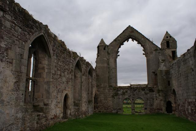 The ruins of The Abbey of Saint John the Evangelist or Haughmond Abbey. The abbey dates from around 1100 AD. The ruins are a few miles east of Shrewsbury at Haughmond Hill on the B5062.