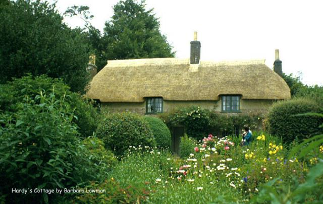 Thomas Hardy's Cottage, in Higher Bockhampton, Dorset, is the birthplace of the English author Thomas Hardy. He lived here until he was aged 34, during which time he wrote Under the Greenwood Tree and Far from the Madding Crowd. It is now a National Trust property.