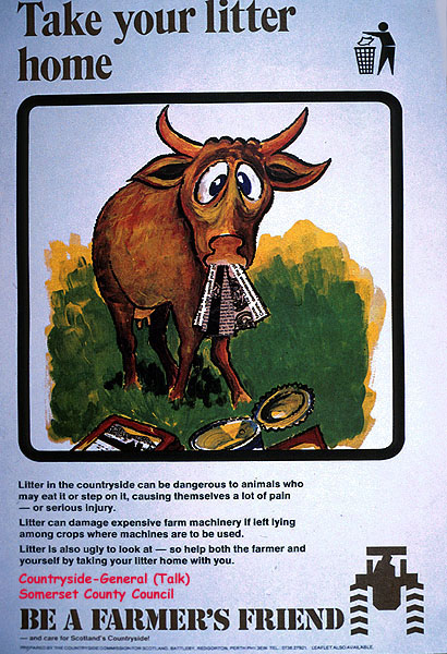 "Information poster - ""Be a Farmer's Friend"" - re litter in the countryside"