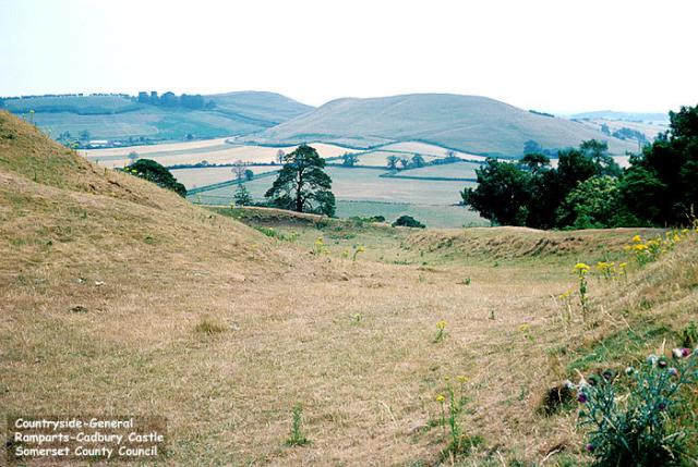 South Cadbury Hillfort (also known as Cadbury Castle), Somerset.  The site was first occupied in Neolithic times (ie prior to 3000 BC); these ramparts are thought to have been built between 500-200 BC.  It has been suggested that this site may be the basis for the legend of King Arthur's Camelot.