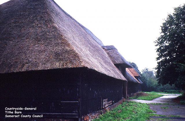 Unidentified Tithe Barn.  Tithe barns were used in the Middle Ages for storing tithes.  A tithe was a tenth of a farm's produce which had to be given to the Church.