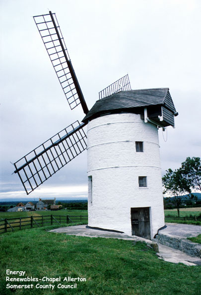 The windmill at Chapel Allerton, Isle of Wedmore, Somerset.  Windmills use the power of the wind for a variety of uses, such as pumping water , grinding corn, driving sawmills, or driving electricity generators.  Chapel Allerton is a restored 18th century flour mill.