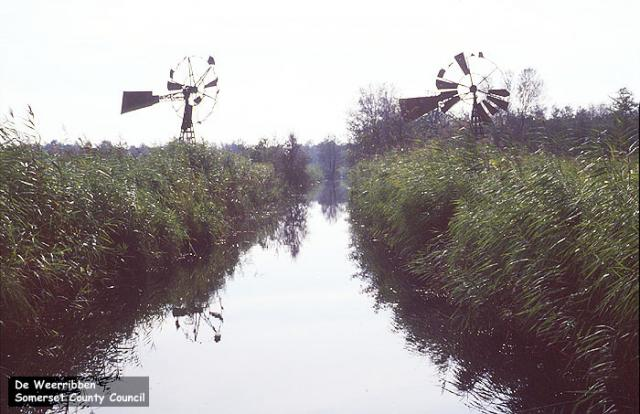 Windmills on a waterway in the De Weerribben National Park, Netherlands.  Windmills use the power of the wind for a variety of uses, such as pumping water (the likely use in this location), grinding corn, driving sawmills, or driving electricity generators.