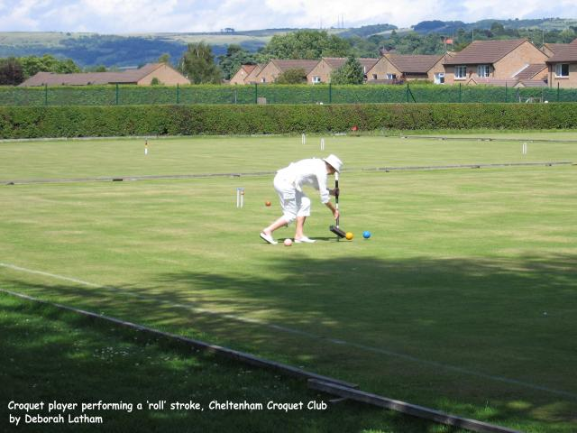 A croquet player on Court 6 at Cheltenham Croquet Club.