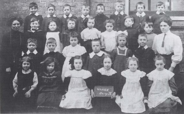 A group of children at Vange School in 1911.  Although the children are all dressed smartly, there does not seem to be a standard school uniform.