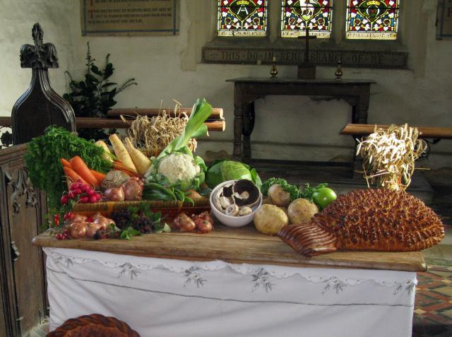 In Victorian times, as today, churches were decorated for the harvest festival with the produce of the local farms.