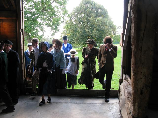 "The tithe barn was where the ""tithe"" - one tenth of the grain harvested by the villagers - was stored. This grain belonged to the local vicar. Photograph taken at a re-enactment of a Victorian Harvest Festival."