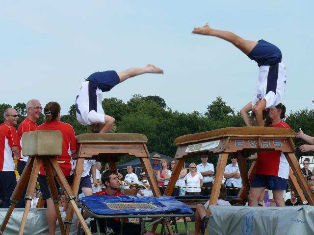Gymnastics display at the village fete.