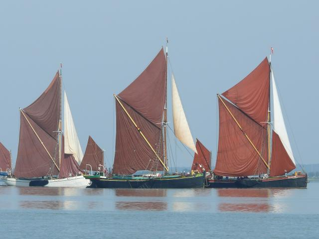 Thames Barges on the River Blackwater, Essex, during the annual Blackwater Barge Match, July 26th 2008.
