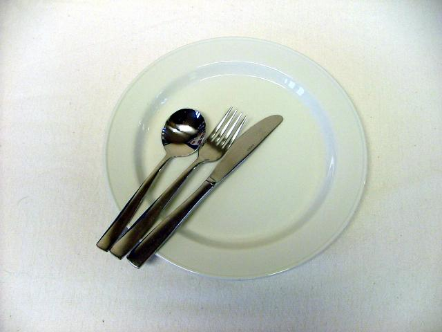 Modern china plate and stainless steel cutlery - 21st century