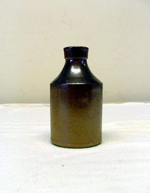 Post-medieval clay ceramic bottle with glaze