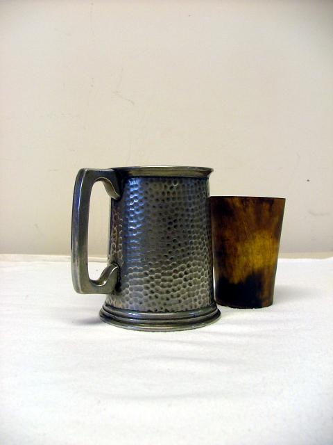 Medieval pewter drinking tankard and horn cup